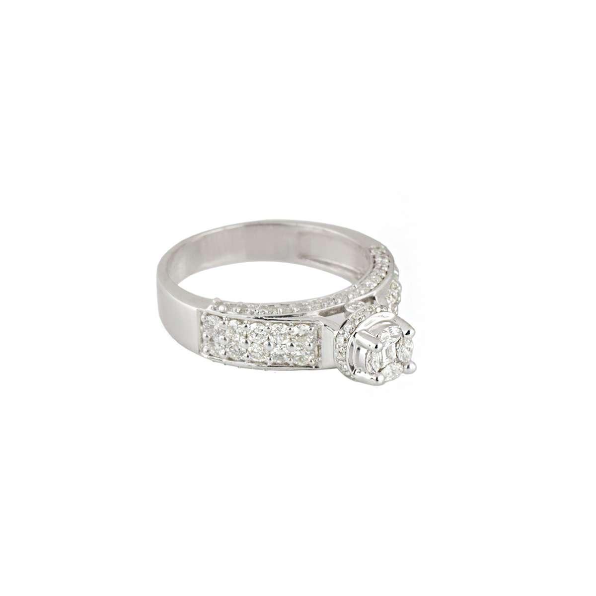 18k White Gold Diamond Cluster Ring 1.19ct